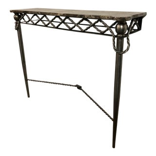 20th Century Steel Wall Mounted Marble Top Console Table For Sale