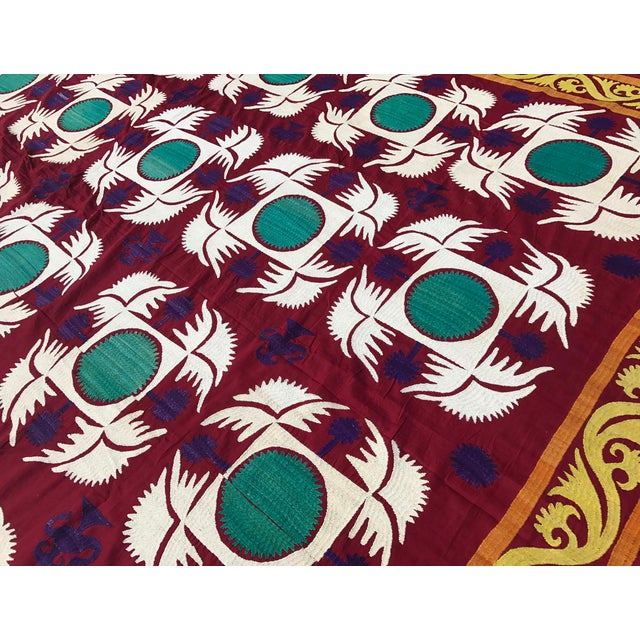 Boho Chic Vintage Big Size Suzani Fabric For Sale - Image 3 of 6