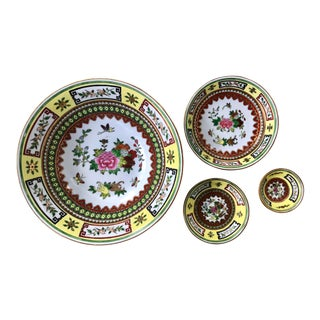 Chinese Famille Jaune Yellow Painted Floral Bowls - Set of 4 For Sale