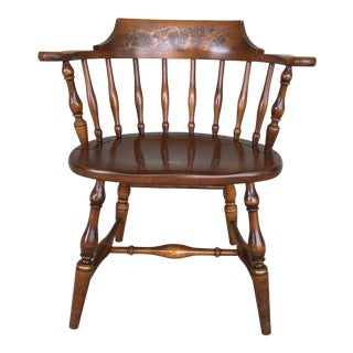 L. Hitchcock Harvest Paint Decorated Solid Maple Captain's Chair For Sale