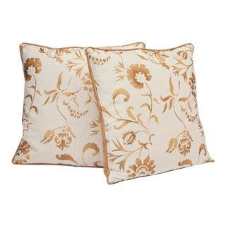"""Eden"" Copper Hand Printed 20"" Decorative Pillows For Sale"