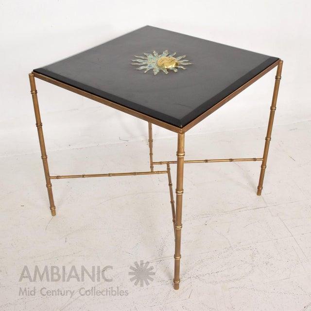 Mexican Modernist Centre Table in Brass, Wood & Malachite, Pepe Mendoza Square For Sale - Image 10 of 11