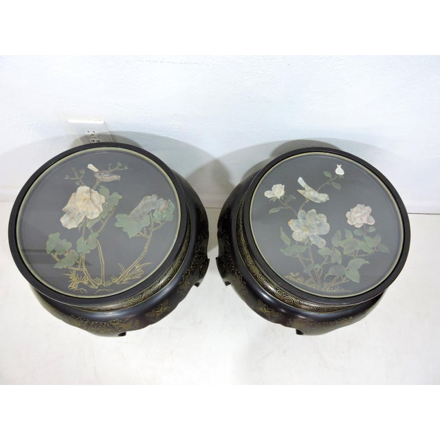 Green Vintage Chinese Mother of Pearl & Soapstone Black Lacquer Garden Stools/Side Tables - a Pair For Sale - Image 8 of 9