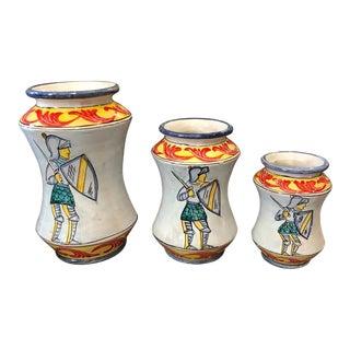 2019 Sicilian Unique Pieces Hand Painted Paladin Albarello Vases For Sale