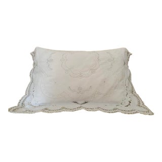 1980s Linen and Lace Standard Pillow Sham For Sale