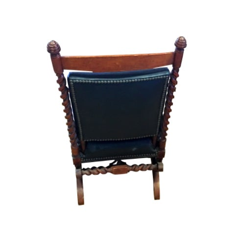 1880s Sliding Rocking Chair, Leather & Wood Victorian Furniture - Image 4 of 5