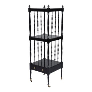1930s English Narrow Ebonised Mahogany Etagere on Casters For Sale