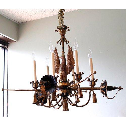 Tôle Painted and Gilt Eagle and Swords Chandelier - Image 3 of 9