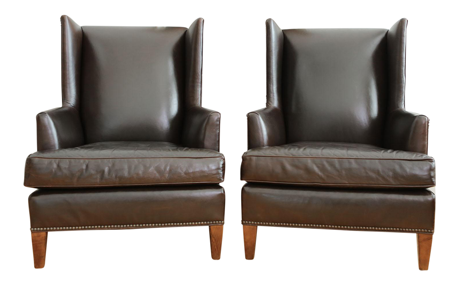 Mitchell Gold + Bob Williams Leather Club Chairs   A Pair   Image 1 Of 10