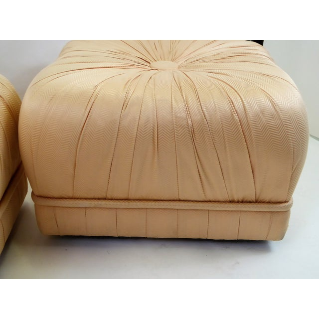 Pair of Hollywood Glam Poufs on Casters 1970s For Sale In Miami - Image 6 of 11