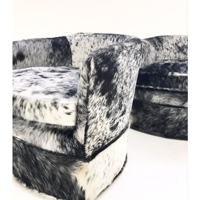 Vintage Milo Baughman Wheeled Restored and Reupholstered in Black and White Speckled Brazilian Cowhide Slipper Chairs - a Pair - Image 5 of 9