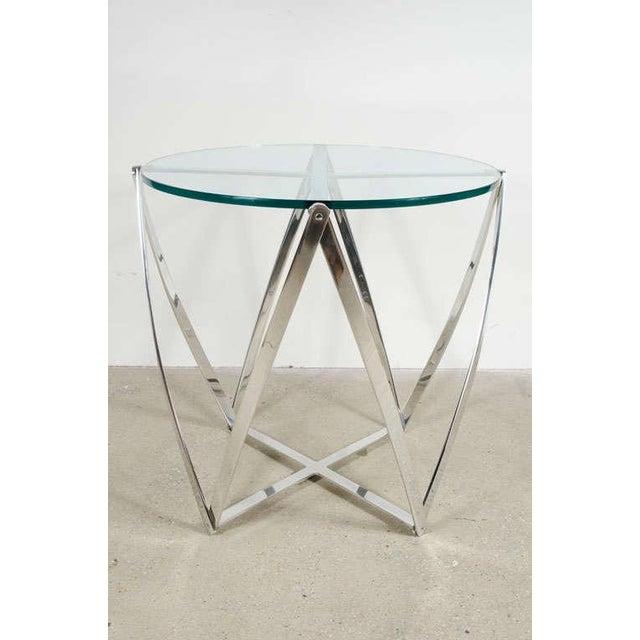 Mid-Century Modern John Vesey Aluminum Spool Lamp Table For Sale - Image 3 of 8