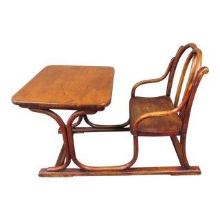 Art Nouveau Thonet Bentwood Child's Writing Desk and Chair For Sale
