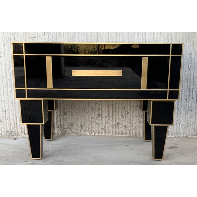New Pair of Mirrored Low Nightstand in Black Mirror and Chrome With Drawer For Sale - Image 4 of 11