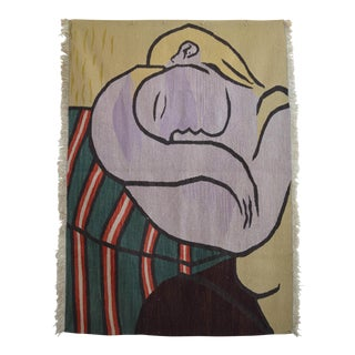 Picasso -Woman With Yellow Hair Inspired Hand Woven Area Kilim Wall Rug 4′ × 5′8″ For Sale