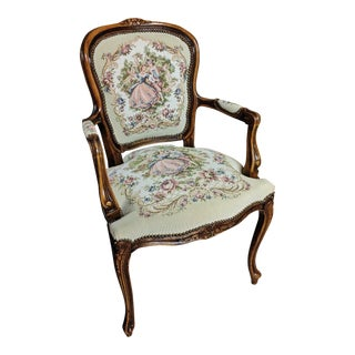 1980s Louis XV Courting Couple Tapestry Fauteuil Armchair