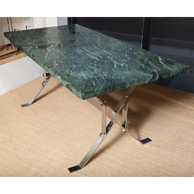 Silver Albrizzi Steel Base Trestle Table with Serpentina Verde Marble Top For Sale - Image 8 of 9