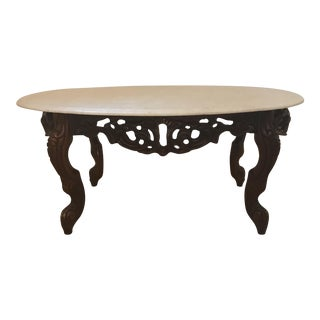 Oval Shaped Marble Coffee Table For Sale