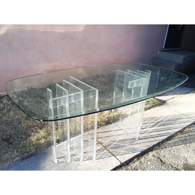 Lucite Sculptural Base Dining Table - Image 6 of 6