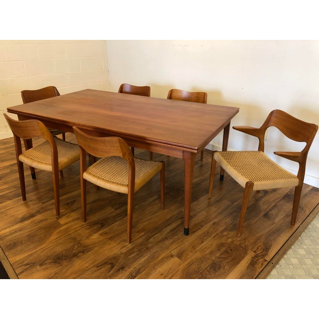 Large Teak Draw Leaf Dining Table by Niels Otto Møller for Jl Møller, Made in Denmark For Sale In Seattle - Image 6 of 13