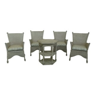 Wicker 5 Piece Table & Chair Patio Set For Sale