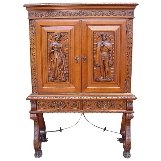 Antique Furniture Spanish Antique Carved Walnut Server Bar Cabinet - Antique Furniture Spanish Antique Carved Walnut Server Bar Cabinet
