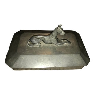 1940s Vintage Great Dane Pewter Box For Sale
