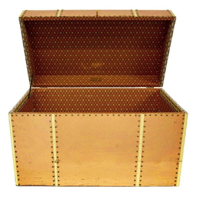 Vintage Copper & Brass Storage Trunk For Sale - Image 4 of 6