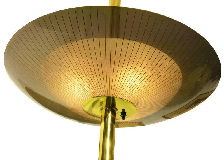 Brass Triple Light Floor To Ceiling Tension Pole Lamp   Image 8 Of 10