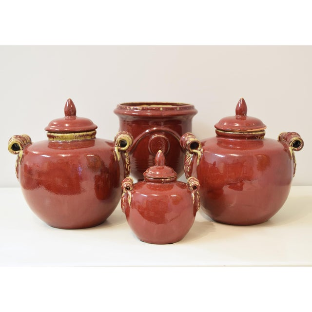 Late 20th Century Brick Red Ceramic Urns - Set of 4 For Sale - Image 5 of 5