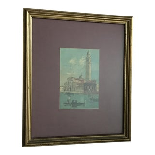 "Vintage Venice Oil Painting - in Gold Frame , Signed ""Cole"" For Sale"