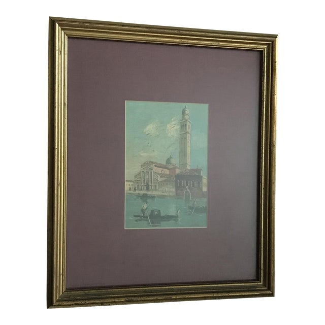 """Vintage Venice Oil Painting - in Gold Frame , Signed """"Cole"""" For Sale"""