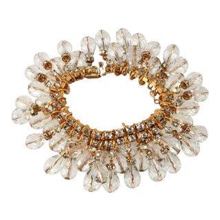 DeLillo Crystal Dangle Bracelet With Clear Rhinestones De Lillo For Sale