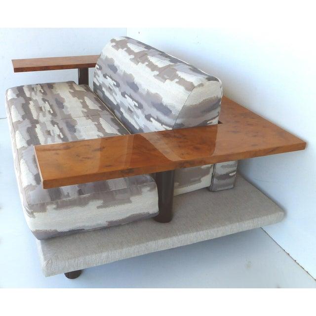 Italian Burl-Wood Upholstered Loveseat For Sale - Image 4 of 11