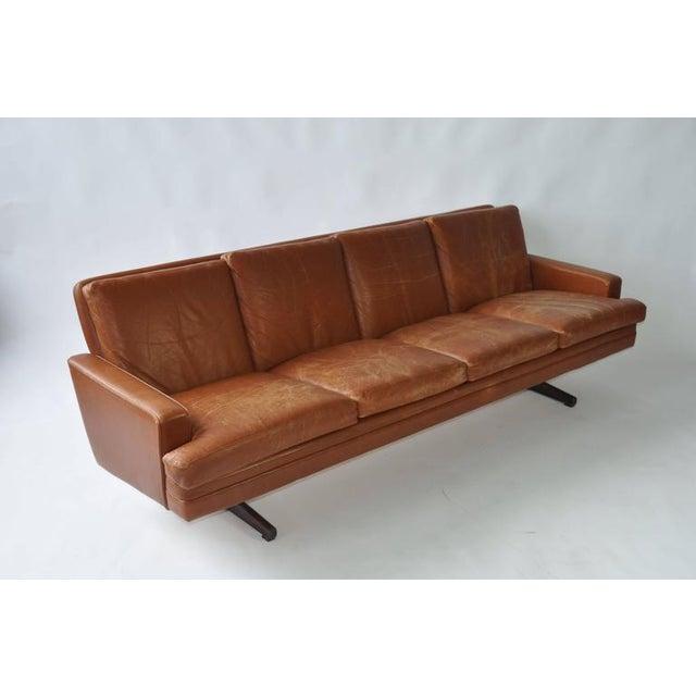 Fredrik Kayser Leather and Rosewood Sofa - Image 3 of 8
