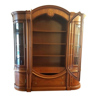 Transitional Wooden China Cabinet For Sale