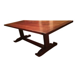 1990s Traditional Mahogany Trestle Dining Table For Sale