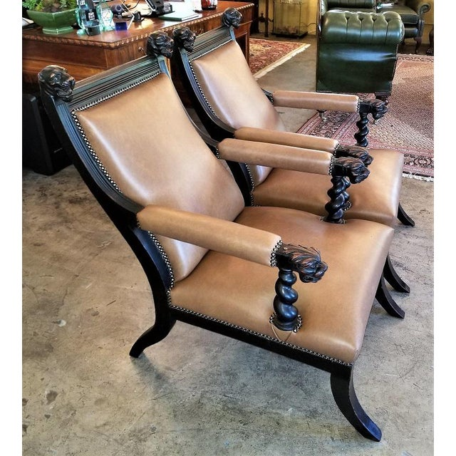 British Colonial British Dark Walnut Library Chairs With Lions Heads - a Pair For Sale - Image 3 of 11
