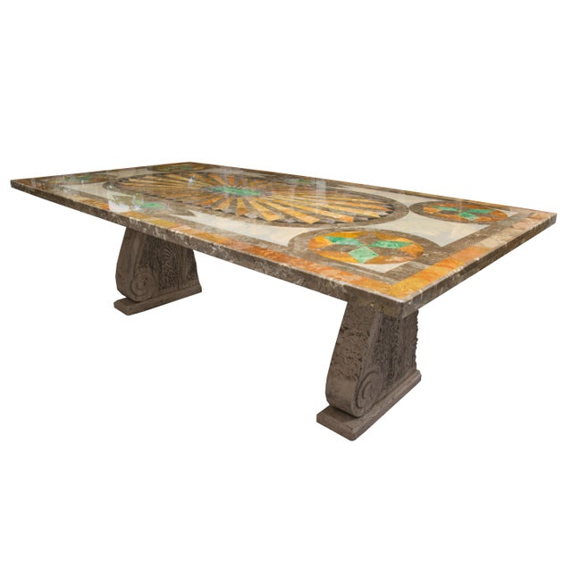 Concrete Italian Scagliola Marble-Table on Concrete Plinths For Sale - Image 7 of 7