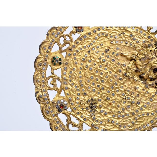 Gold Monk's Fan Mounted on Stand For Sale - Image 8 of 13