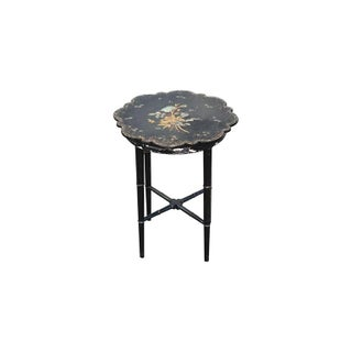 Small Chinoiserie Side Table or Stool Black Faux Bamboo Legs Preview