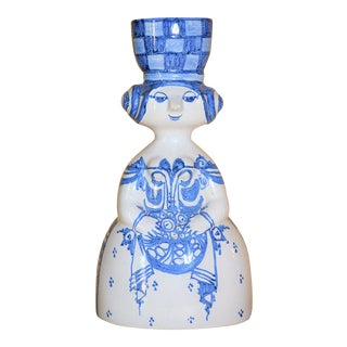 1980s Danish Modern Bjorn Wiinblad White and Blue Delft Lady Figurine For Sale