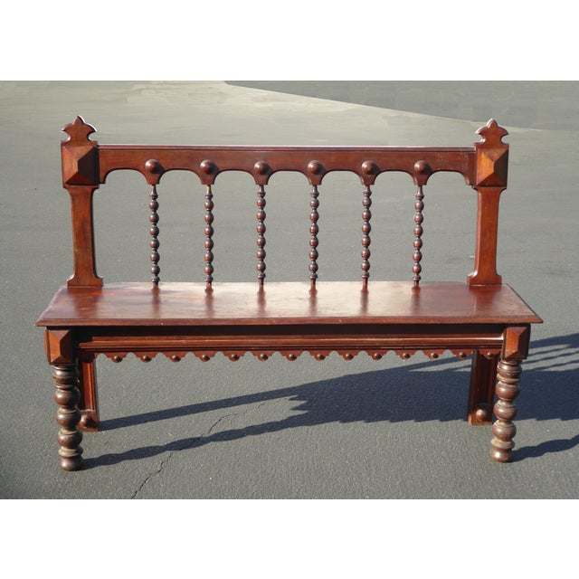 Vintage Spanish Colonial Style Carved Wood Spindle Bench Settee - Image 3 of 10