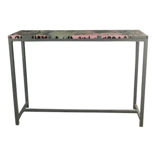 Organic Modern Rectangular Grey and Pink Marble Effect Console Table