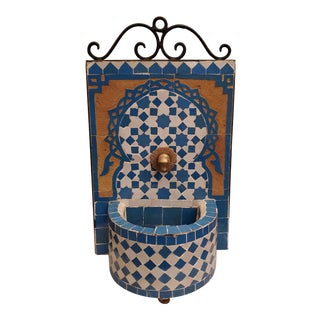 Turquoise and White Miniature Moroccan Mosaic Fountain For Sale