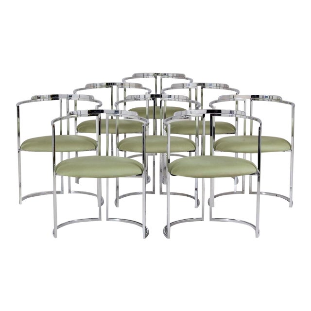 Set of 8 Nickel Plated Dining Chairs 1960s For Sale