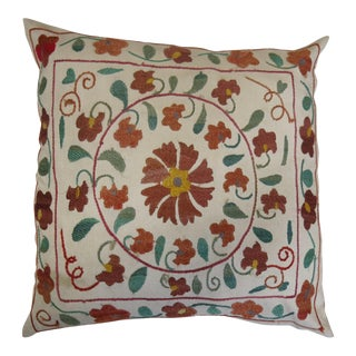 19th C. Suzanni Embroidery Pillow For Sale