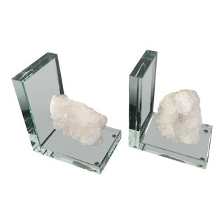 White Agate Crystal Bookends - a Pair