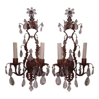 Gilt Metal & Crystal Two Light Wall Sconces - a Pair For Sale