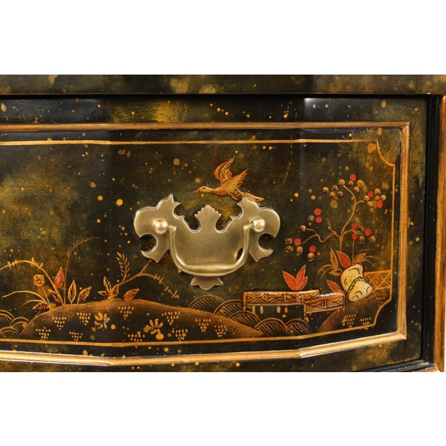 Red Chinoiserie Maitland Smith Decorated Chest of Drawers For Sale - Image 8 of 13
